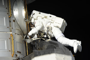 Outside the International Space Station, Expedition 39 Flight Engineers Rick Mastracchio and Steve Swanson of NASA conducted a spacewalk April 23 to replace a backup computer relay box on the station's S0 (s-zero) truss (photo)