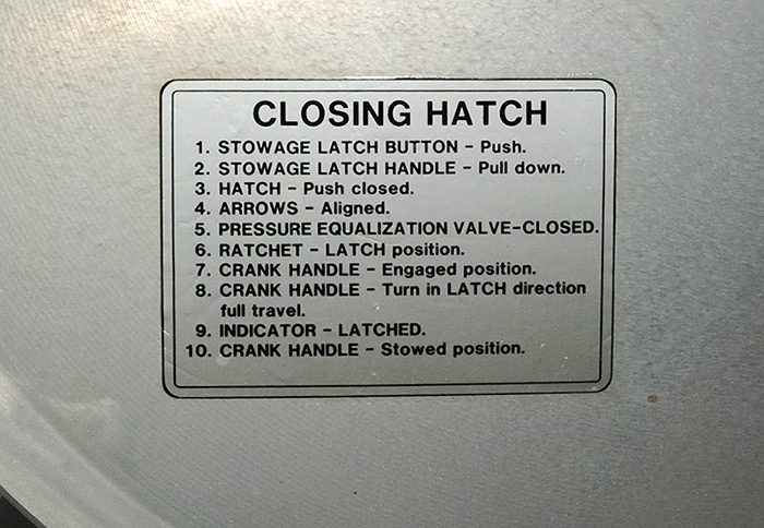 Signs on ISS. Instructions on closing of intermodular hatches