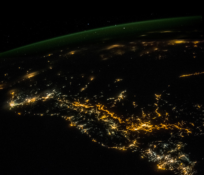 Persian Gulf at night