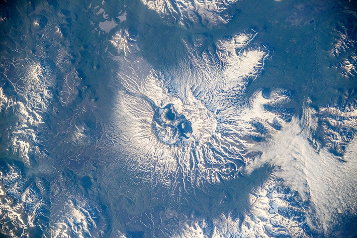 Ksudach is a stratovolcano in southern Kamchatka