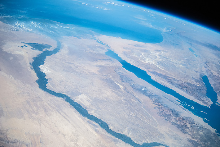 Flying over the Nile. Egypt.